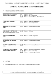 Attività dal 5 al 12 settembre – Parrocchia Santo Stefano Protomartire