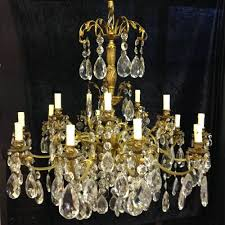 a large italian antique brass crystal chandelier c 1900 1 of 7