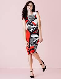 Red Geometric Shift Dress Cleo