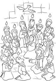 Small Picture Descent of the Holy Spirit at Pentecost coloring page Free