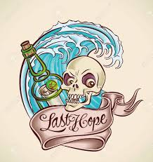 Vintage Tattoo Design With Bottle Skull Banner And Wave