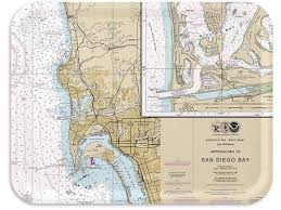 Trays4us San Diego Nautical Chart Birch Wood Veneer 16x12 Inches Large Tv Serving Map Tray 100 Different Designs