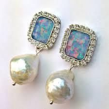 black opal dangle earrings australian black opal rectangle opa