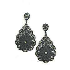 metal filigree teardrop shape chandelier earrings in black