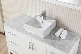 Single Vessel Sink Bathroom Vanity 55 Inch Modern Single Vessel Sink White Vanity Set