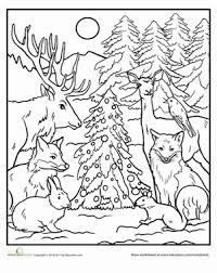 Forest Animal Coloring Page Color The Forest Holiday Holidays Christmas Coloring Pages