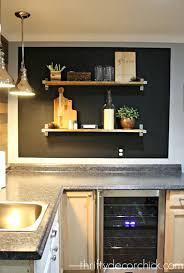 Kitchen Chalkboard With Shelf Chalkboard Wall And Open Shelving In The Basement From Thrifty