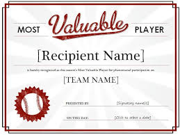mvp award certificates most valuable player award certificate it is a recognition of his
