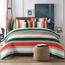 dark green orange grey and white rugby stripe print modern chic knitted full queen size bedding sets