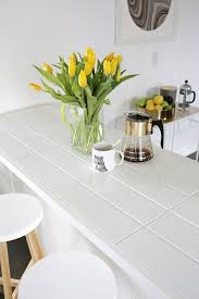 long tile countertop with white grout