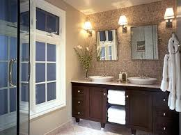 Double Sconce Bathroom Lighting Interesting Modern Bathroom Vanity With Three Wall Lantern Sconces Part Of
