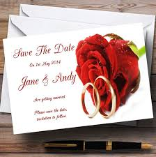 Red Save The Date Cards Red Romantic Rose Wedding Rings Personalised Wedding Save The Date Cards