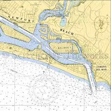 California Nautical Charts California Newport Beach Ii Nautical Chart Decor