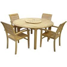 royalcraft virginia teak round garden table with lazy susan and 4 hamilton chairs hamilton stacking