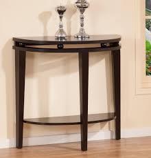 Contemporary Black Half Moon Console Table Modern Espresso Design Intended Ideas