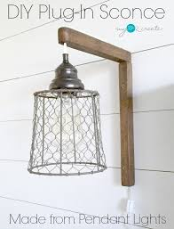 Diy pendant lighting Hallway Make Your Own Diy Plugin Sconces From Pendant Lights Full Picture Tutorial At Mylove2create Diy Plugin Sconces From Pendant Lights My Love Create