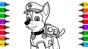 How To Draw Paw Patrol Chase Coloring Pages Kit Toys For Children
