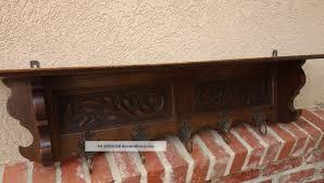 Oak Wall Coat Rack Antique French Carved Dark Oak Wall Shelf Hat Coat Rack Plate Shelf 77