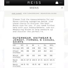 Reiss Size Chart Mens Reiss Check Shirt Size S Mens Fashion On Carousell