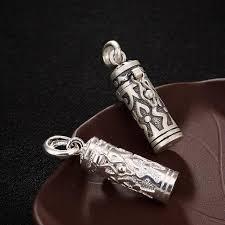 925 solid sterling silver prayer box buddhism shurangama mantra pendant jewelry a2262 religious slide big