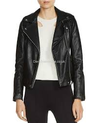 women s leather maje simple elegant madone leather biker jacket in black kv4206