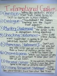 good hooks for informational writing anchor chart by olive  good hooks for informational writing anchor chart by olive