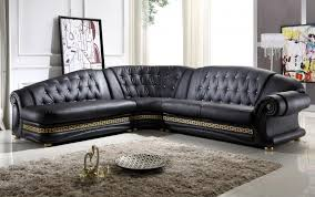 modern leather sofa. Living Room:Dazzling Corner Black Leather Sofa Design With Cream Fur Rug And White Transparent Modern