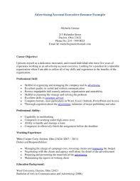 Advertising Account Executive Resume Example Job Description Sales