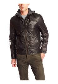 levi s faux hooded leather jacket for men dark brown