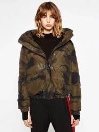 camo quilted jacket women long sleeve stand collar hunter green winter coat no 1