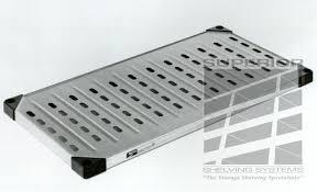 solid louvered metal shelf