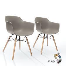 Ltd Edition Living 2er Set Esszimmerstühle Mild Grau Mit Armlehne Mid Century Design Kunstoff Retro Schalenstuhl Buchenholz Beinen