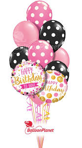 Happy Birthday Pink Black Dots Balloon Bouquet 12 Balloons Balloon Delivery By Balloonplanet Com
