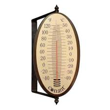 decor vintage oval thermometer in bronze patina