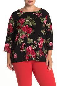 Leota Cece Floral Bateau Neck Top Plus Size Hautelook
