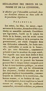 women s rights first page of the declaration of the rights of w and the female citizen