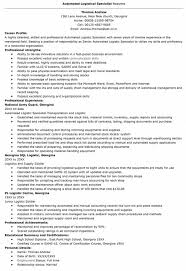 100 Transportation Logistics Specialist Resume Sample Public ...
