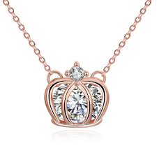 rose gold plated princess crown necklace pendant