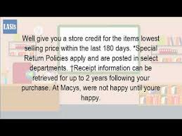 can you return an item to macys without a receipt