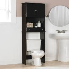 Above Toilet Cabinet black wooden bathroom cabinet with shelf and drawer above white 5687 by uwakikaiketsu.us