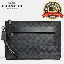 COACH F28614 Carryall Pouch in Signature Canvas Bag  Charcoal   Black