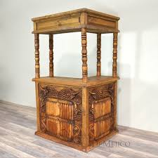 Rustic style furniture Dining Room Ingrid Furniture Vino Bar Spanish Carved Bar Demejico