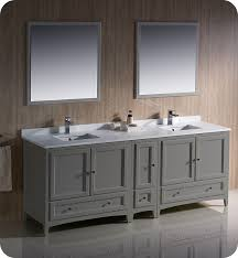 fresca fvn20 361236gr oxford 84 gray traditional double sink bathroom vanity with side cabinet