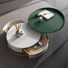 round nesting coffee table with storage