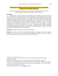 PDF) COMMUNITY ASSEMBLY AND ECOLOGY OF MICROALGAE OF PESHAWAR KHYBER  PAKHTUNKHWA PAKISTAN