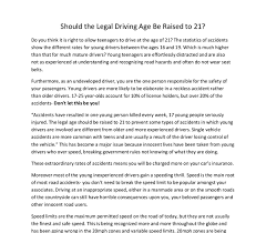 essays driving age should raised the driving age should be raised essay 1855 words cram