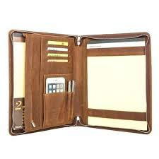 personalized leather portfolio zipper organizer zippered