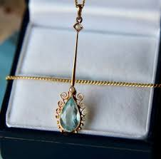 art nouveau antique natural aquamarine gold necklace long pendant chain decorated with seed
