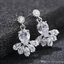 vintage crystal bridal earrings long silver dangle wedding earrings bridal jewelry cubic zirconia chandelier earrings bridal accessories bridal earring