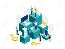 Goal Charts For Work Isometric People Work In A Team And Achieve The Goal People